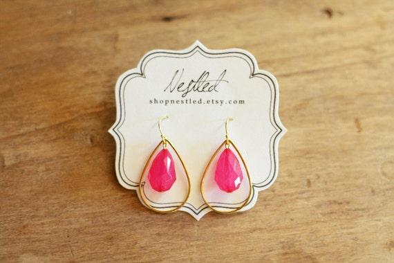 Gold Framed Hot Pink Teardrop Earrings