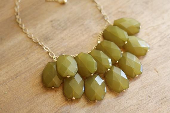 Olive Green Statement Necklace - Bib Necklace
