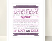 Love is Patient, Love is Kind. Wedding, Anniversary, Engagement Print - 8x10 inch - Christian Scripture Bible