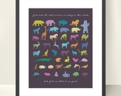 Animals Scripture Print - 11x14 inch - God made the Animals - Bible Genesis Creation