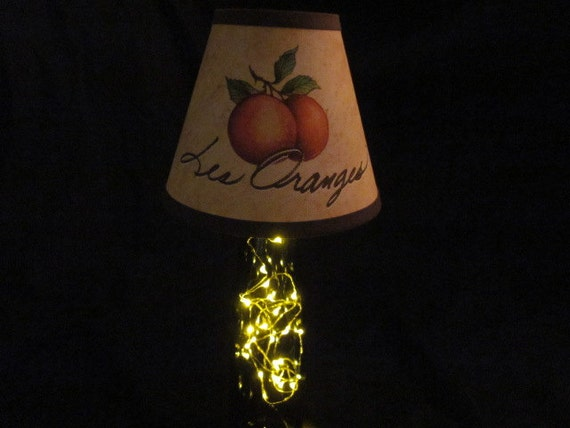 Reserved for MAF The Petite with Les Oranges: Glass Bottle Lamp with Battery-Powered LED Lights