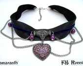 Gothic Purple and Black Leather Chocker Antique Silver Chain Glass Pearls Necklace