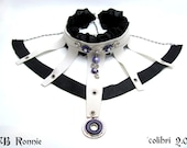 Statement Gothic Punk Rock Leather and Leatherette Necklace with Veil Black and White Choker