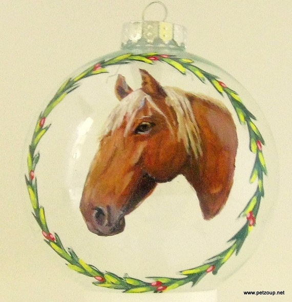 Custom Pet Horse Portrait Ornaments Hand Painted Horse Art