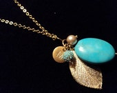 Modern Gold Leaf Charm Necklace
