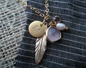 Pink Stone and Gold Leaf Personalized Charm Necklace