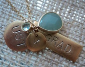 Personalized Green Stone Graduation Charm Necklace, Graduation Gift, Graduation Keepsake