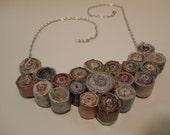 Upcycled Bib Magazine Paper Bead Necklace Sparkling glossy coat recycled magazines