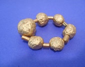 Custom listing for fleursauvage Gold ball paper mache  bead elastic bracelet earrings necklace set