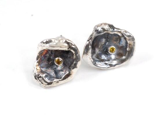 Lemon Drop Stud Post Earrings- Large/Shallow -sterling silver handmade jewelry