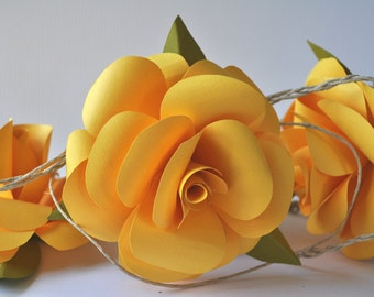 Paper Flowers- Yellow- Wedding- Baby Shower- Bridal Shower Flower Garland