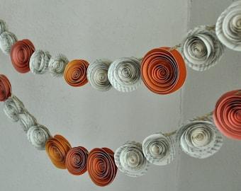 Garland Upcycled Paper Flower  Orange Garland Baby Shower Garland