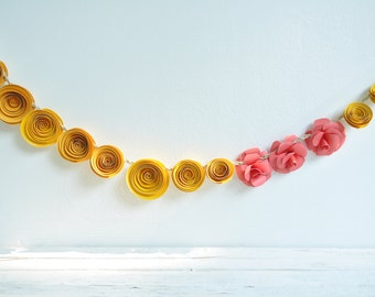 Pink - Yellow Paper Flower Garland- Party Decorations- Home Decor