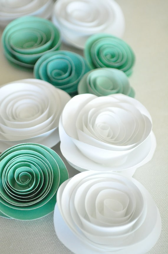 Paper Flowers Teal and White Paper Flowers Wedding Table Decorations 25 flowers