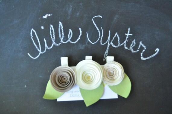Ivory Paper Flower Hair Clip Bridal Shower Barrettes
