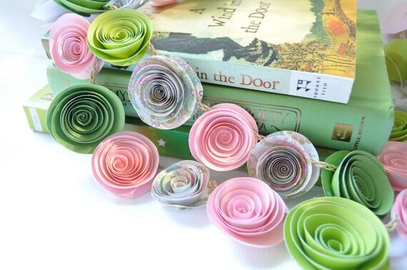 Garland Pink and Green Paper Flower Garland Baby Shower Decor Nursery Garland