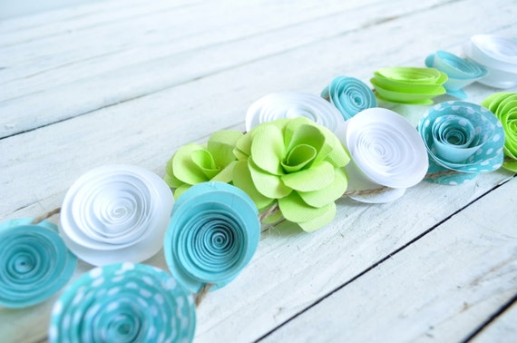 Garland Paper Flowers White  Teal  Lime Baby Boy Shower Garland Wedding Garland 5.5 Feet