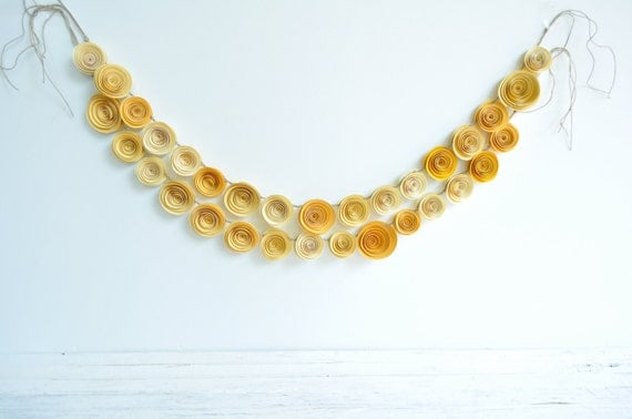 Paper Flower Garland- yellow wedding garland Shades of Yellow- Party Decorations- Party Decor 4.5 Feet