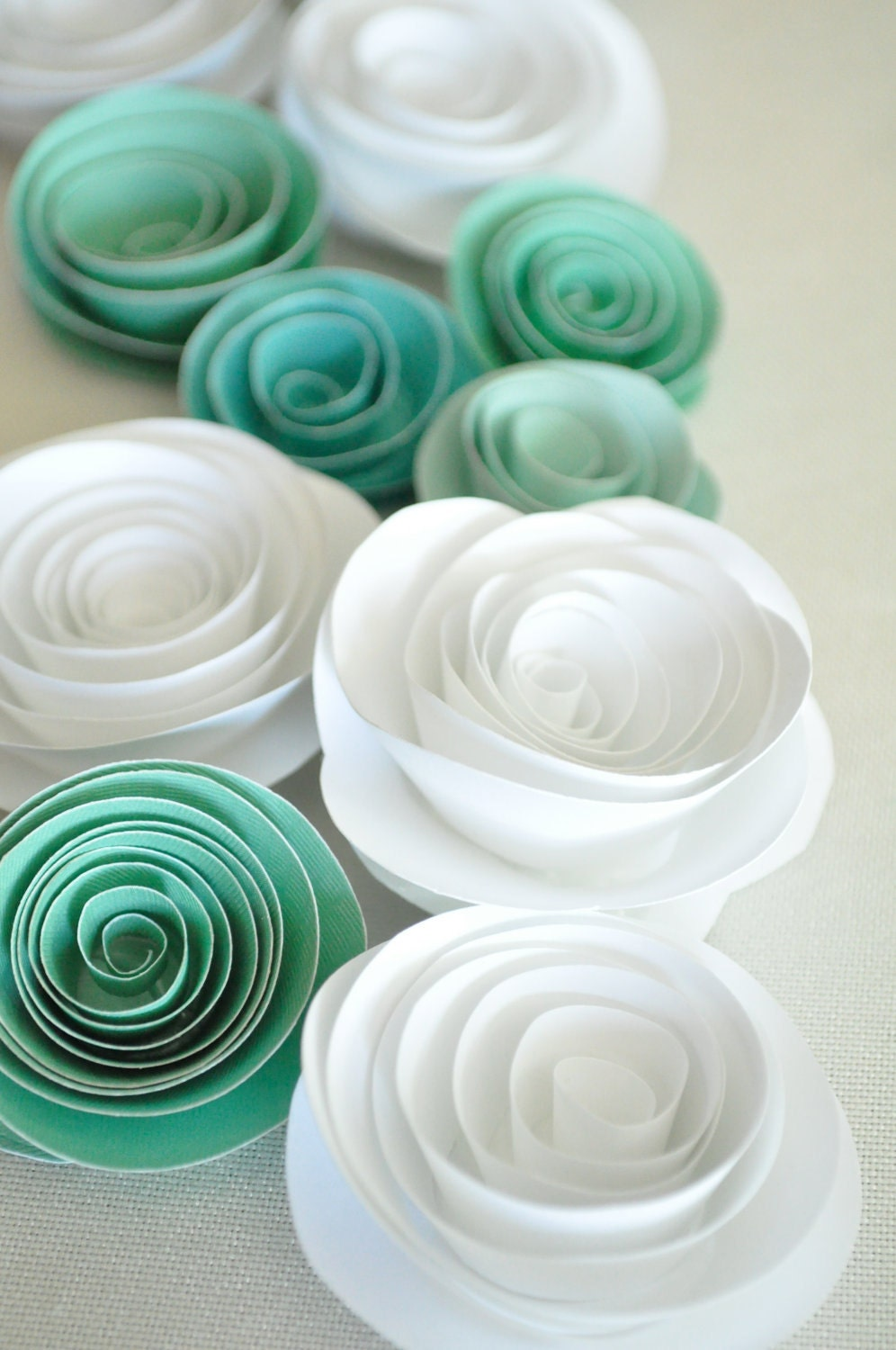 Paper flowers teal and white paper flowers wedding table - Flowers for table decorations ...