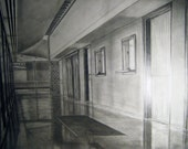 Original Drawing Hallway Graphite