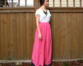 Bright Pink Maxi Skirt, High Waist Long Skirt, Medium