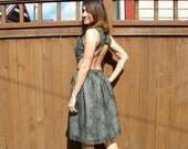 Backless Print Summer Dress, Green & Black Snakeskin Print Chiffon Party Dress, Small