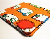 Men's Bifold Wallet - Dr. Seuss' The Lorax, The Once-ler, and the Truffula Trees in Orange and Blue