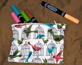Retro Hipster Birds and Birdcages Makeup Cosmetic Bag or Pencil Pouch Blue, Green, Pink