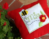 Custom embroidered flower & bee pillow