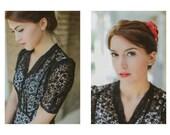 Black Lace 1940s Dress, Sheer WWII dress