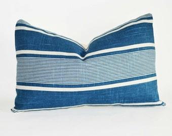 Pillow 12x20'' striped Batik lumber Throw Pillow Cushion cover accent pillow blue toss pillow