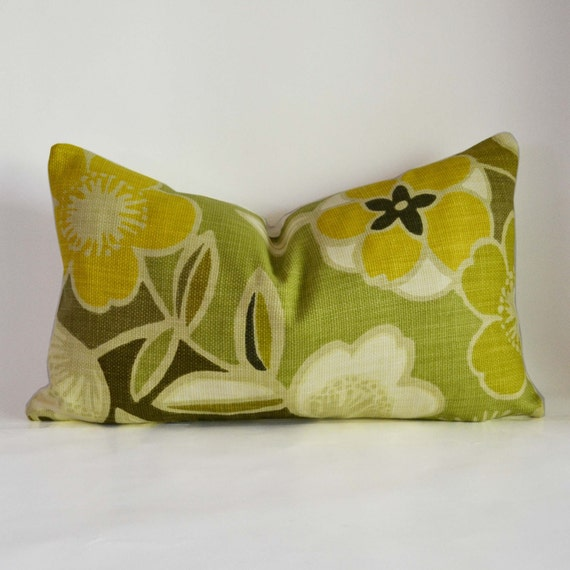 Decorative Pillow 12 x 20'' Green and Yellow Floral Accent Pillow Throw Pillow Cushion cover