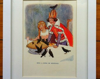 1910s Sing a Song of Sixpence NURSERY RHYME Print FRAMED
