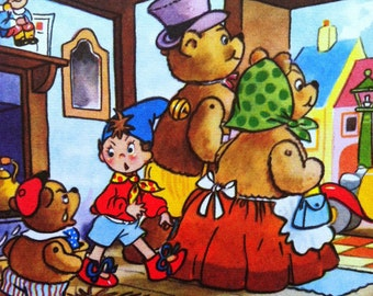 1958 NODDY & the THREE BEARS Color Print