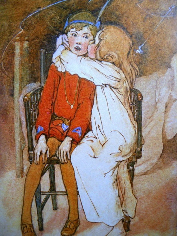 On Hold PETER PAN and WENDY Kiss Alice B. Woodward Print