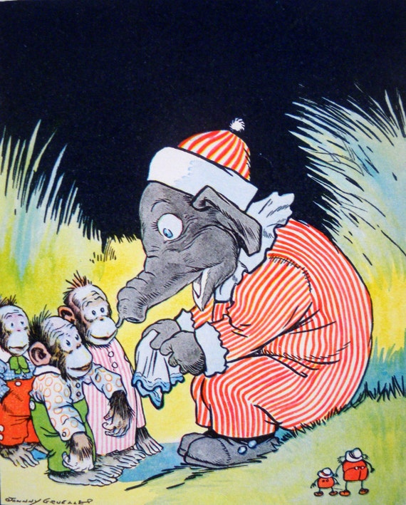 30s ELEPHANT and MONKEYS Johnny GRUELLE print