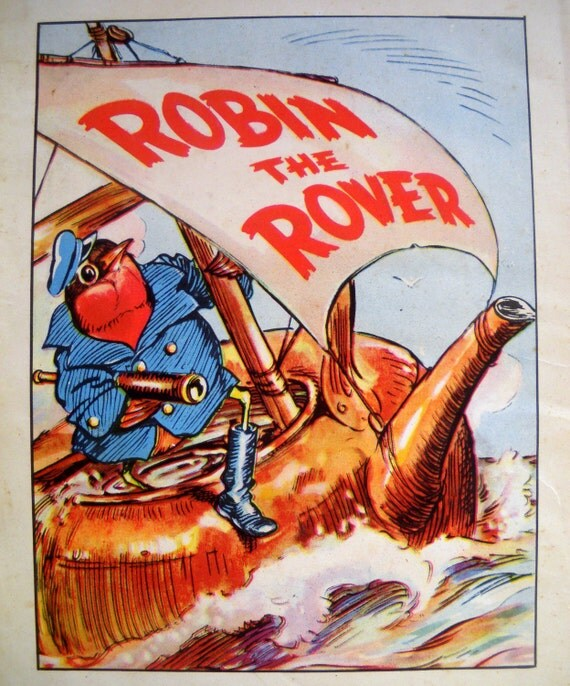 1940s ROBIN the ROVER PIRATE Bird Print