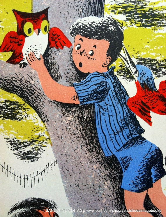 1960s Boy CLIMBING a TREE with an OWL Ideal for Framing