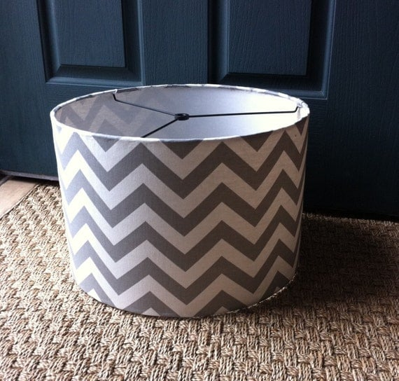 drum lamp shade 17 x 10 in premier prints zig zag grey silver a. Black Bedroom Furniture Sets. Home Design Ideas