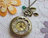 Vintage Style Sunflower Pocket Watch Necklace with Leaves Charm