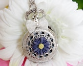 Cute Small Silver Pocket Watch Necklace with Butterfly and Daisy Flower charm