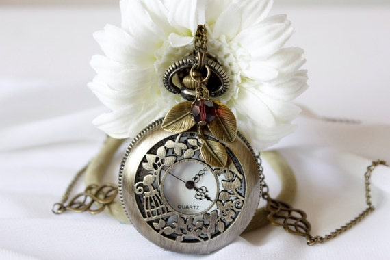 Bird and Cage Pocket Watch Necklace with Crystal, Leaf and Chinese knot Charm
