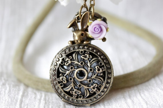 Alice in wonderland - Flower Pocket Watch Necklace with Bunny, Rose and Leaves Charm