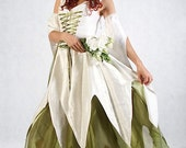 Ivory and Green Pixie Queen - Full outfit - Made to order
