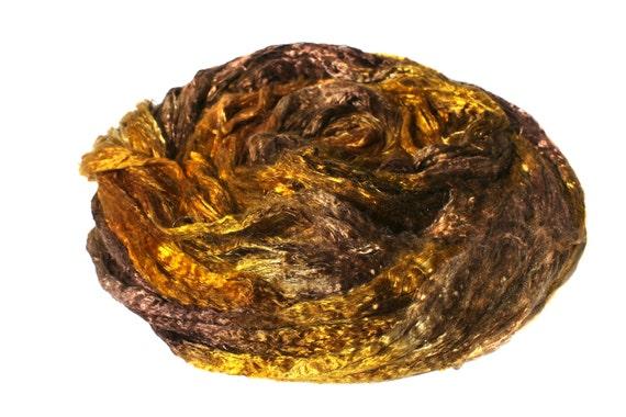 Mulberry Silk Brick Fiber Hand Dyed Spinning Felting Silk Fiber Golden Brown Multicolor 118 gm 4,2 oz