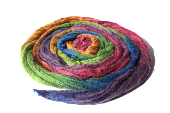 Extra Fine Australian Merino Wool And Mulberry Silk 50/50 Blend Roving Spinning Felting Hand Dyed Fiber 50 gm 1,8 oz