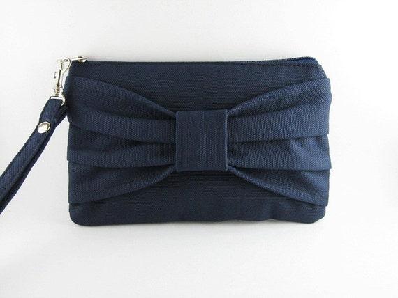 Add 1 more get 20% off - Women Clutch Wallet - Big Bow Navy Clutch