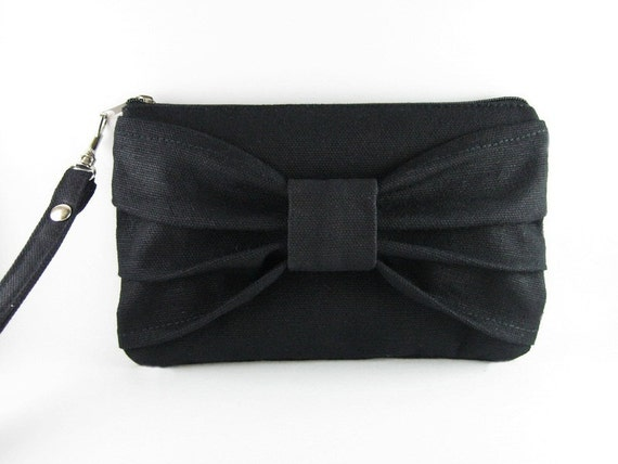Big Bow  (Black) -  iPhone 5 Wallet, iPhone 5 Purse,Cell Phone Wristlet, Cosmetic Bag ,Camera Bag, Zipper Pouch