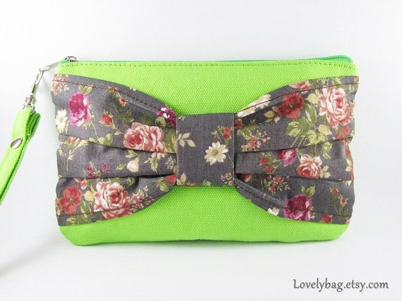 Lime Green Bow Clutch - Bridesmaid Gift Bag, Wedding Gift, Cosmetic Bag Make Up, Camera Bag, Zipper Pouch, Wristlet