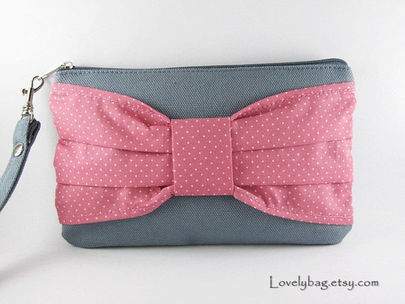 Big Bow  (Gray) - iPhone Purse, Cell Phone Wristlet, Camera Bag, Cosmetic Bag, Zipper Pouch
